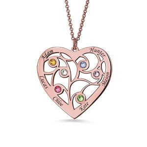 Heart Family Tree Necklace with birthstones in Rose Gold Plating