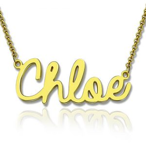 Cursive Style Name Necklace 18K Gold Plated