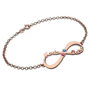 Personalized Infinity 2 Names & Birthstones Bracelet In Rose Gold