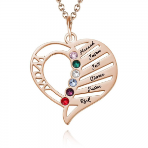 Engraved Mom Birthstone Necklace Rose Gold Plating
