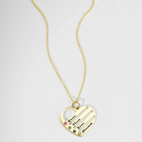 Birthstone Heart Necklace with Engraved Names - Gold Plated