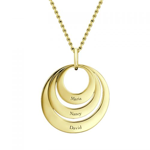 Three Disc Necklace with Gold Plating