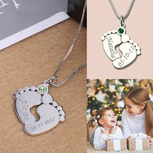 Engraved Baby Feet Necklace with Personalized Birthstone