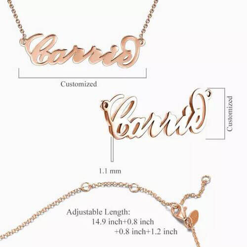 """""""Carrie"""" Style Name Necklace Rose Gold Plated"""