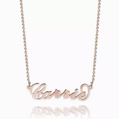 """Carrie"" Style Name Necklace Rose Gold Plated"