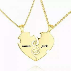 """True Love"" Couples Heart Necklace With Engraving 14k Gold Plated"