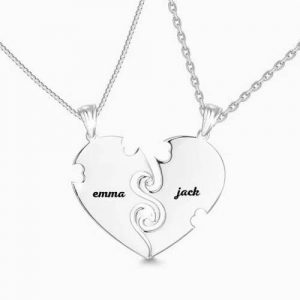 """True Love"" Couples Heart Necklace With Engraving Silver"