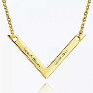 Engraved Bar Necklace 14k Gold Plated