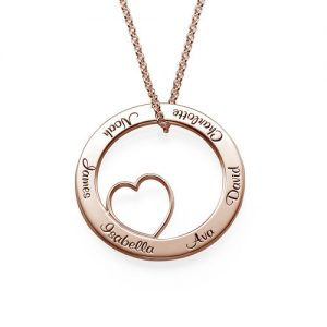 Family Love Circle Pendant Necklace - Rose Gold Plated
