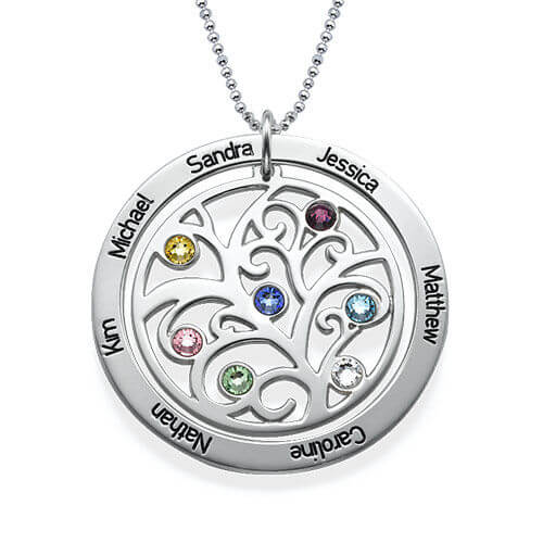 Family Tree Birthstone Necklace in Sterling Silver