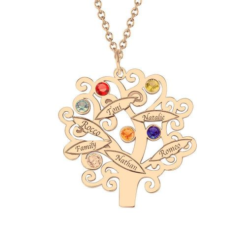 Rose Gold Plated Family Tree Necklace with Birthstones