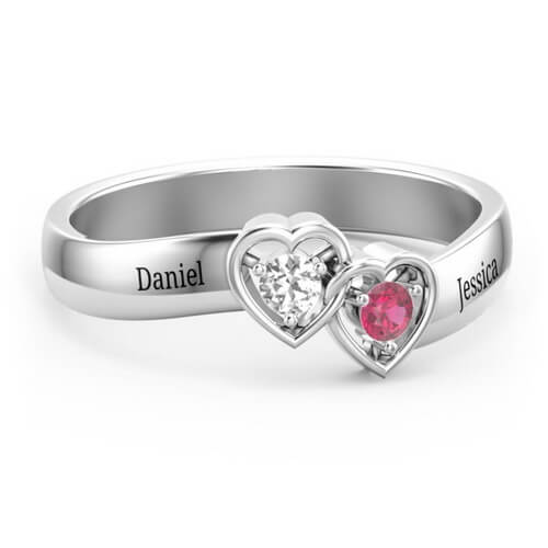 Double Interlocked Hearts Ring