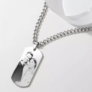 Mens Photo Engraved Tag Necklace With Engraving Stainless Steel
