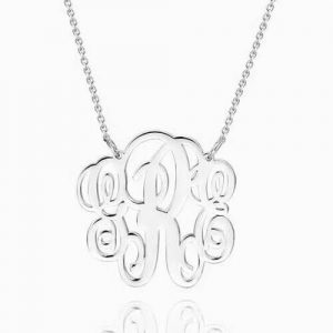 Fancy Monogram Necklace Silver