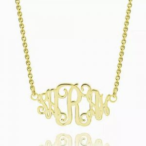 Celebrity Monogram Necklace 14K Gold Plated
