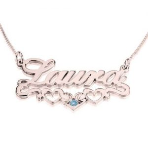 Rose Gold Plated Name Necklace with underline Hearts