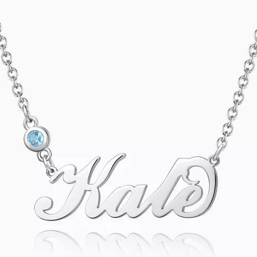Personalized Birthstone Name Necklace Silver