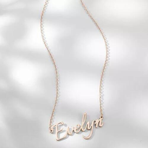 Personalized Name Necklace Rose Gold Plated