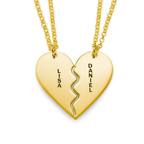 Breakable Heart Necklace Set - Gold Plated