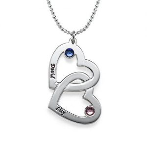 Heart in Heart Birthstone Necklace