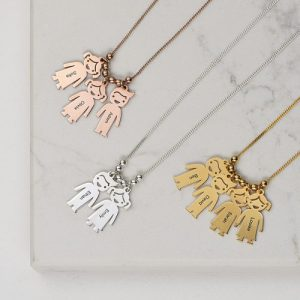 Mother's Necklace With Children Charms Rose Gold Plated