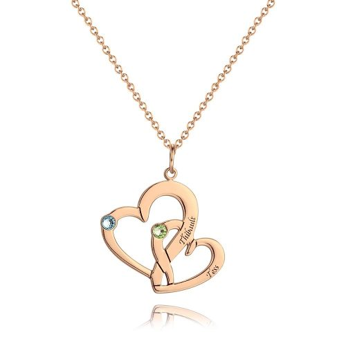 Engraved Two Heart Necklace with Rose Gold Plating