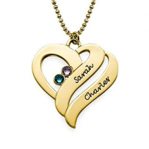 Two Hearts Forever One Necklace with Birthstones - Gold Plated