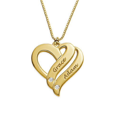 Two Hearts Forever One Gold Plated with Diamonds Necklace