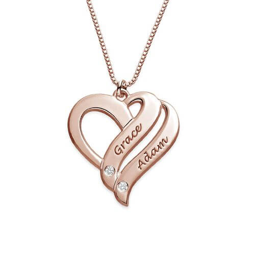 Two Hearts Forever One Rose Gold Plated with Diamonds Necklace