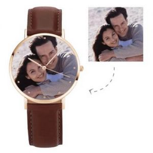 Unisex Rose Goldtone Photo Watch Brown Leather Strap