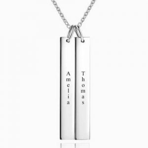 Engraved Double Bar Necklace Silver
