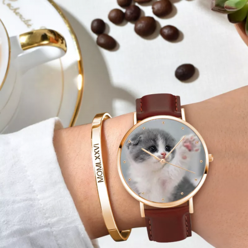 Womens Rose Goldtone Photo Watch Brown Leather Strap