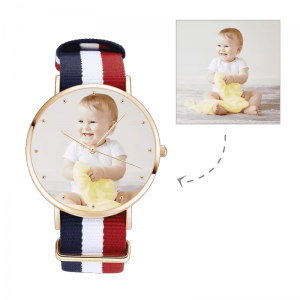 Womens Rose Goldtone Photo Watch Color Nylon Strap