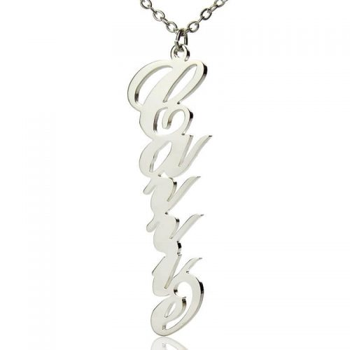 Vertical Carrie Style Name Necklace Silver