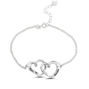 Custom Double Heart Engraved Name Bracelet