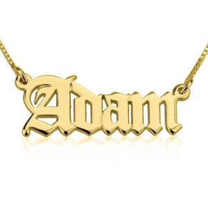 Gold Plated Old English Name Necklace