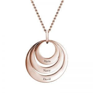 Three Disc Necklace with Rose Gold Plating